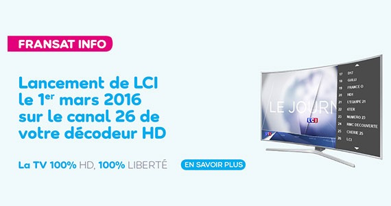 LCI rejoint le bouquet satellite TNT HD de Fransat