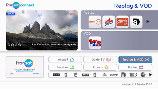 Replay et VOD Fransat Connect